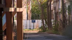 Nicosia no mans land - UN Green Line buffer zone street zoom out Stock Footage