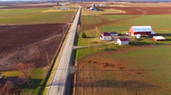 Aerial view of America's Heartland, rural Wisconsin farms in Springtime Stock Footage