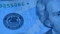 Stock Video Footage of 4K United States Twenty Dollars Bill Blue