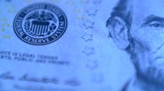 4K United States Five Dollars Bill Blue Stock Footage