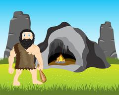 Ancient person beside caves - stock illustration