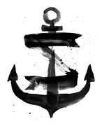 Watercolor illustration of an anchor - stock illustration