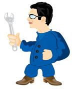 Master with wrenches - stock illustration