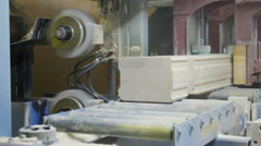 Wall beam processing machine cnc. Processing of laminated veneer lumber mills. Stock Footage