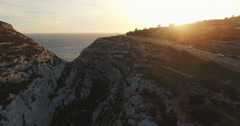 Aerial shot of European Maltese Cliffs during Sunset - stock footage