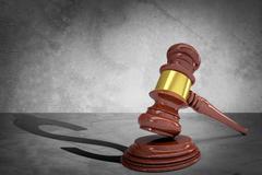 Wooden judge gavel and soundboard Stock Illustration
