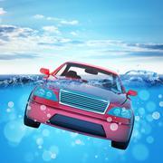 Car drowning in sea Piirros