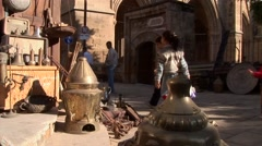 Turkish antiques market, Nicosia, Northern Cyprus Stock Footage