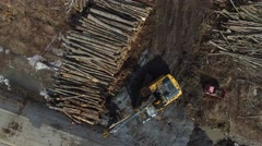 4k aerial logging scene from above Stock Footage