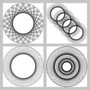 Black and white geometric circular pattern. - stock illustration