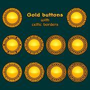 Vector set of ten golden celtic knotwork buttons - stock illustration