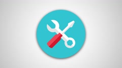4K - Wrench and screwdriver icon symbol round logo Stock Footage