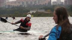 Tumble rotate diving Training athletes kayaking Stock Footage