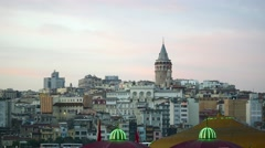 Ancient Galata Tower during early evening at Beyoglu region in Istanbul - stock footage