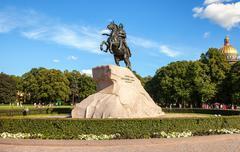 The equestrian statue of Peter the Great (Bronze Horseman) in St. Petersburg, - stock photo
