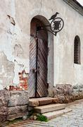 Old wooden gate at the medieval castle in Vyborg, Russia Stock Photos