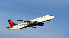 Delta Airlines jet, landing gear slow motion Stock Footage