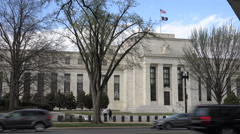 Federal Reserve building with flags, Washington, DC - stock footage