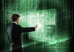 Businessman using modern technologies - stock photo