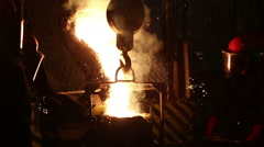 Pouring of molten iron Stock Footage