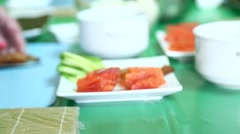 Red fish and fried shrimp on a plate Stock Footage
