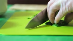 Sushi master slices of avocado Stock Footage
