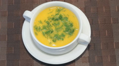 Pumpkin soup puree with croutons and dill Stock Footage