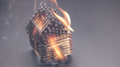 Burning match house slow motion 60fps Stock Footage