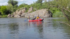 Rafting on the mountain river - stock footage