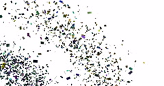 Falling colorful glitter foil confetti, color animation 3d movement on white Stock Footage