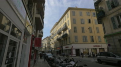 Shops on Rue de France in Nice Stock Footage