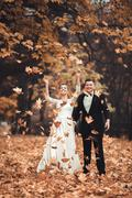Luxury married wedding couple, bride and groom posing in park autumn - stock photo