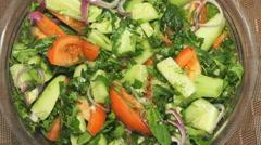Salad of fresh vegetables. Closeup Stock Footage