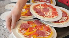 Pizzeria - waiter carries children's pizza Stock Footage