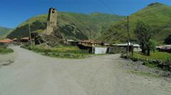 Svan tower in viliage Stock Footage