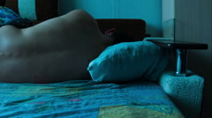 Sleeping Man on Bed Time Lapse Stock Footage