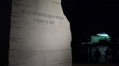 Quotation foreground, Jefferson Memorial in bg, Martin Luther King Memorial Stock Footage