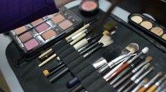 Make-up artist takes a brush and choose a color from a palette of shadows Stock Footage