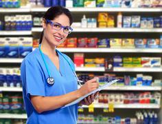 Doctor pharmacist woman. Stock Photos