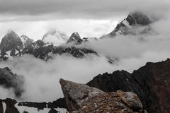 Mountain Ranges in Stormy Weather Stock Photos