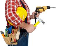 Builder handyman with drill and hammer. - stock photo