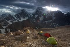 High Altitude Camp Changing Weather - stock photo