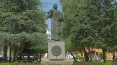 Ivan Crnojevic statue Cetinje Stock Footage