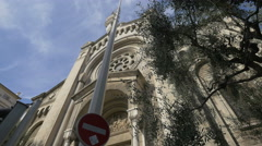 Low angle view of Eglise Saint Pierre d'Arène in Nice Stock Footage