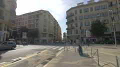 The crossroad between Rue de France and Boulevard Gambetta, Nice Stock Footage