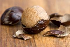 nutmeg in a fragmented nutshell - stock photo