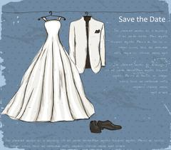 Stock Illustration of Vintage poster with with a wedding dress.