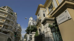 Villa Asphodele and other buildings on Rue Cronstadt in Nice Stock Footage