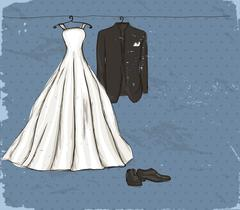 Vintage poster with with a wedding dress. - stock illustration