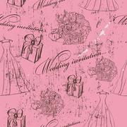 Vintage wedding seamless texture. - stock illustration